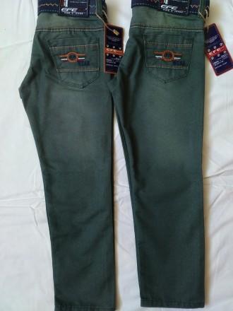 Зеленые котоновые брюки на мальчика 4,5,6,7,8 лет 104-128 рост. Мариуполь. фото 1