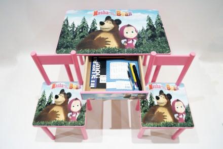 Детский столик и стульчик Маша и Медведь (стол и стул) от 1 до 6 лет. Киев. фото 1