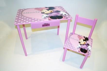 Детский стол и стул Минни Маус (стол и стул) от 1 до 6 лет. Киев. фото 1