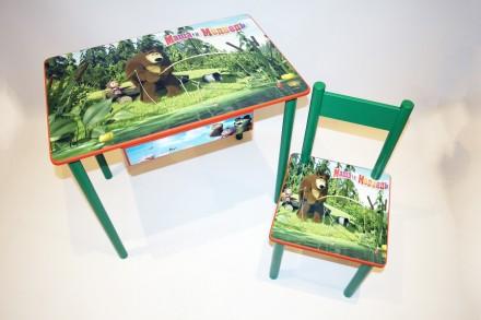 Детский столик и стульчик Маша и Медведь от 1 до 6 лет (стол и стул). Киев. фото 1