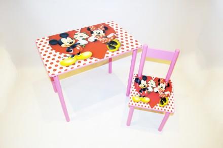 Детский столик и стульчик Микки Маус от 1 до 6 лет (стол и стул). Киев. фото 1