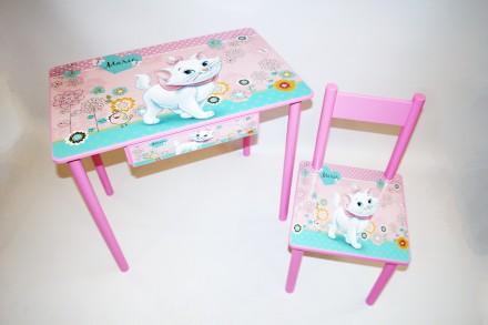 Детский столик с ящиком для девочки от 1 до 6 лет (стол и стул). Киев. фото 1