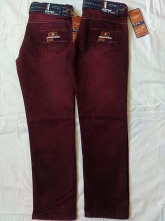 Котоновые брюки на мальчика цвета марсала 4-12 лет 104-152 рост. Маріуполь. фото 1