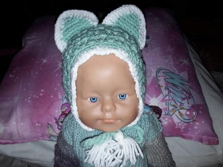 Ексклюзивні шапочки для немовлят з 1го дня життя з гіпоалергенної пряжі ручної р. Коростышев. фото 1
