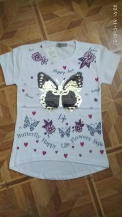 Красивая белая футболка для девочки Бабочка пайетки перевертыши. Лубны. фото 1