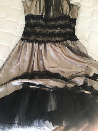 Вечернее атласно -кружевное платье размер46 в хорошем состоянии один раз одето б. Дрогобыч, Львовская область. фото 3