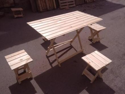 Сосновый раскладной стол и складные стулья для пикника, дачи и туризма. Одесса. фото 1