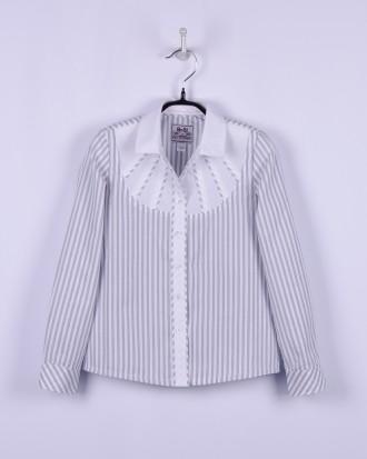 BoGi. Блузка для дівчинки довгий рукав сіра, голуба смужка.. Полтава. фото 1