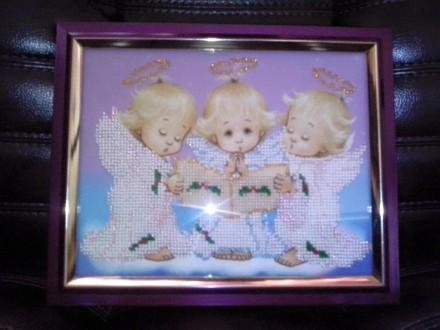 Картина бисером ручной работы «Поющие ангелы». Киев. фото 1