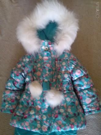 Красивый зимний комбинезон для девочки Donilo р 86+6. Цвет бирюзовый. Смотрится . Мариуполь, Донецкая область. фото 11