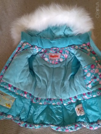 Красивый зимний комбинезон для девочки Donilo р 86+6. Цвет бирюзовый. Смотрится . Мариуполь, Донецкая область. фото 7