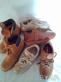 Кроссовки бежевые и шоколадные' фирменные NO NAME ' полностью кожаный верх и вну. Чернигов, Черниговская область. фото 2