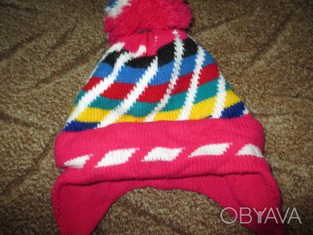 теплая шапка на ребенка 2-3 года,можно носить и зимой.  окружность шапки 46см. Сумы, Сумская область. фото 1