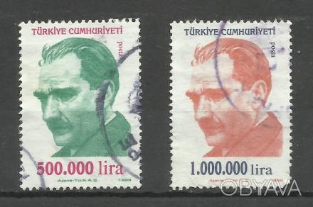 Марки Турции 2 шт 1999 г ( гашеные) 50 грн можно раздельно Кемаль Ататюрк   500. Киев, Киевская область. фото 1