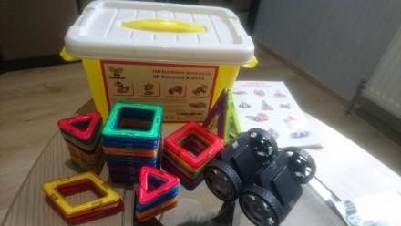 Магнитный Конструктор 3D Магниты 64 детали развивающие игрушки магнітні блоки. Вышгород. фото 1