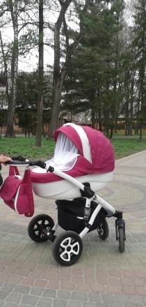 Детская универсальная коляска  Adamex Barletta эко кожа цвет 702 S малиновый цве. Лубны, Полтавская область. фото 2