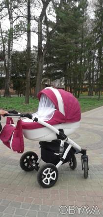 Детская универсальная коляска  Adamex Barletta эко кожа цвет 702 S малиновый цве. Лубны, Полтавская область. фото 1