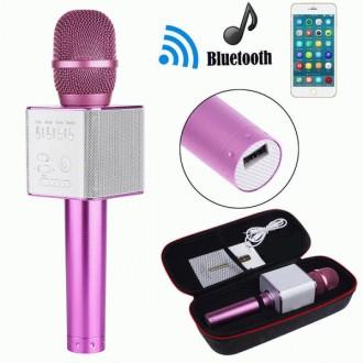Микрофон Q9 портативный караоке с динамиком с чехлом (Розовый). Днепр. фото 1