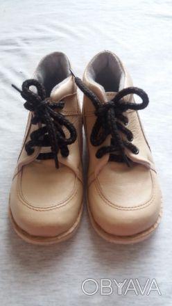 Продам качественные демисезонные ботинки,р.24-25,по стельке 15-15,5 см,бежевого(. Чернигов, Черниговская область. фото 1