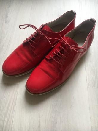 Лакированные туфли (Оксфорды) ярко красные, фирма AGL (Италия). Киев. фото 1