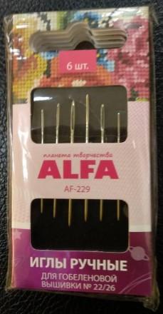 Иглы ручные.  Alfa.  Для гобеленовой вышивки. 6 шт.. Львов. фото 1