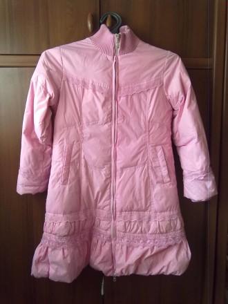 Розовое пальтишко с жилеткой, на жилетке не работает молния, рукав-50 см, длина . Киев, Киевская область. фото 2