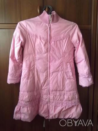 Розовое пальтишко с жилеткой, на жилетке не работает молния, рукав-50 см, длина . Киев, Киевская область. фото 1