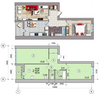Общая площадь 2-комнатной квартиры - 60 кв.м  - комнаты раздельные;  - с кухни. Масаны, Чернигов, Черниговская область. фото 8