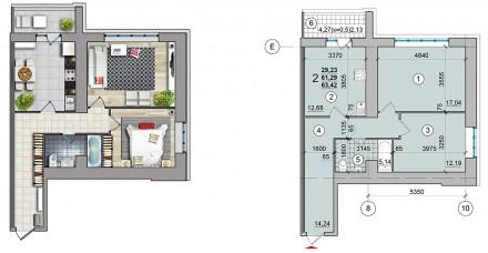 Общая площадь 2-комнатной квартиры - 60 кв.м  - комнаты раздельные;  - с кухни. Масаны, Чернигов, Черниговская область. фото 10