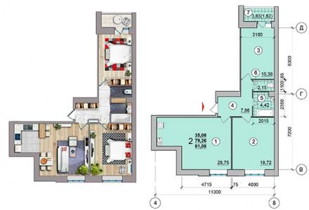 Общая площадь 2-комнатной квартиры - 60 кв.м  - комнаты раздельные;  - с кухни. Масаны, Чернигов, Черниговская область. фото 9