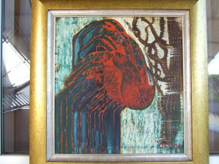 Семан или Очи. х.м раз.56х52 см. 1996 г. Закар. шк. Эрдели Манайла. Ужгород. фото 1