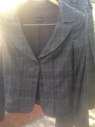 Продам женский шерстяной костюм коричневого цвета в клетку производста Италия. Днепр. фото 1