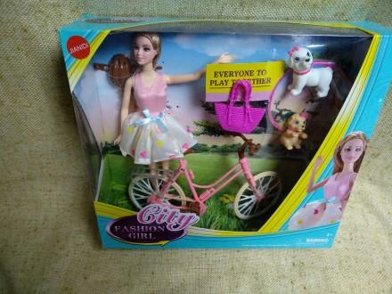 Кукла Барби на велосипеде с питомцами. Київ. фото 1