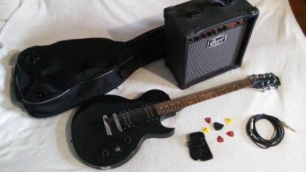 КОМПЛЕКТ Гитара Tenson LesPaul +Комбик 15-30вт Ремень Чехол Шнур НАБОР. Дубно. фото 1