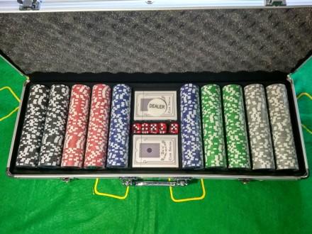 Набор для игры в покер на 500 фишек с номиналом новый покерный набор. Киев. фото 1