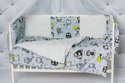 Комплект в кроватку малыша с бортиками Совушки. Кременчуг. фото 1