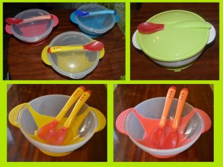 Детская посуда, набор детской посуды на присоске, меняет цвет при перегреве еды. Нежин. фото 1