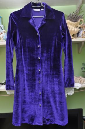 Велюровое фиолетовое платье-рубашка. р.36. Черновцы. фото 1