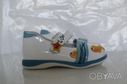 Туфли для Вашей принцессы ТМ B&G. Белые с рисунком. Материал верха- искусственна. Сумы, Сумская область. фото 1