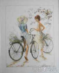 Вышитая картина крестиком Велосипедистки Lanarte. Киев. фото 1
