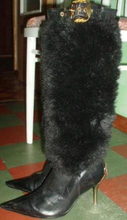 Сапоги с меховым голенищем fachion 37р эко-кожа. Харьков. фото 1