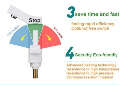 Кран водонагреватель проточный электрический с цифровым лэд дисплеем. Имеет высо. Кривой Рог, Днепропетровская область. фото 11