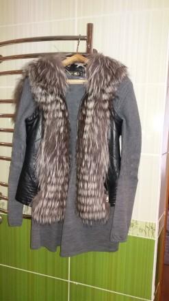 Куртка-жилетка утепленная с мехом чернобурки. Николаев. фото 1