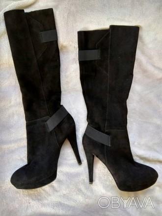 Жіночі чоботи, осінь, 40 розмір, замша, хороший стан.. Ровно, Ровненская область. фото 1