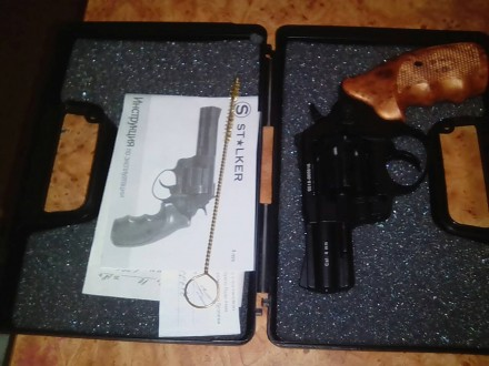 Револьвер под патрон флобера, ствол стальной гладкий, барабан - стальной, рукоят. Кропивницкий, Кировоградская область. фото 4