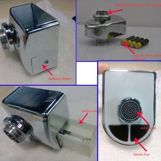 Сенсорная насадка на кран Eco-Water!  (Питание от 4 батареек ААА)  -металличе. Винница, Винницкая область. фото 4