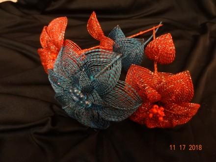 Сувенирные цветы ручной работы с использованием техники ганутель.. Славутич. фото 1