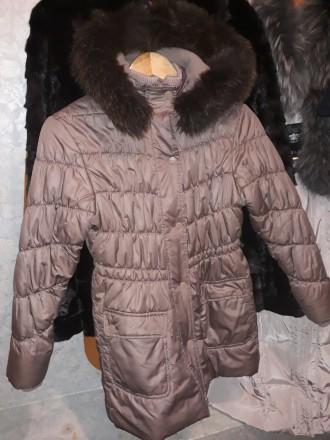 Стильное зимнее пальто 6_9лет мех натуральный чернобурка. Кременчуг. фото 1