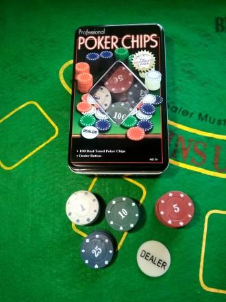 Покерный набор на 100 фишек набор для игры в покер с номиналом новый. Киев. фото 1