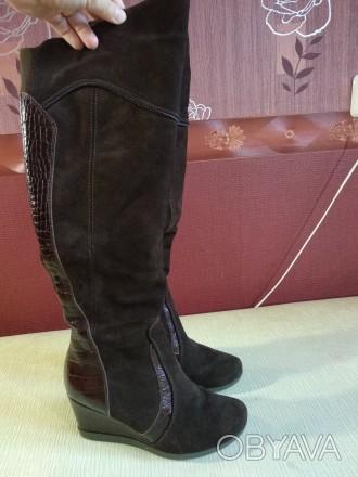 Продам свои сапоги,б/у. Причина продажи-не гадала с размером. Цвет коричневый,ве. Каменское, Днепропетровская область. фото 1